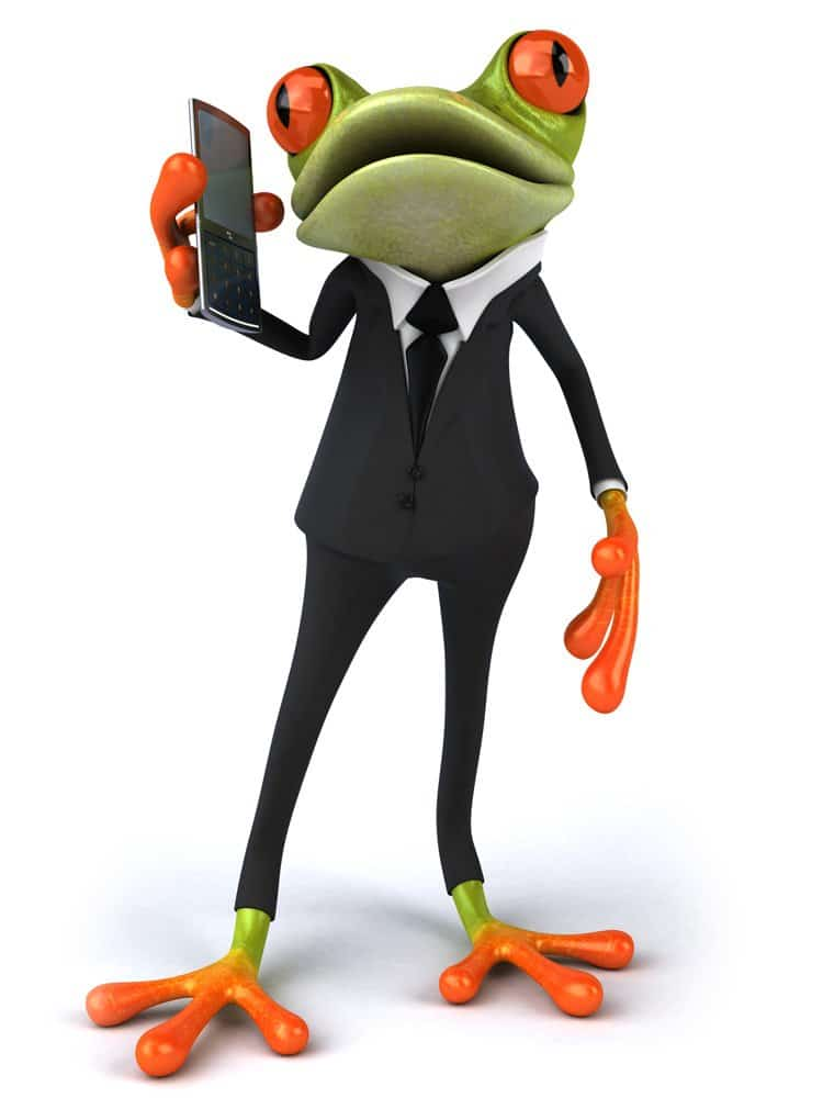 Frog in a suit using a mobile phone to join a teleconference