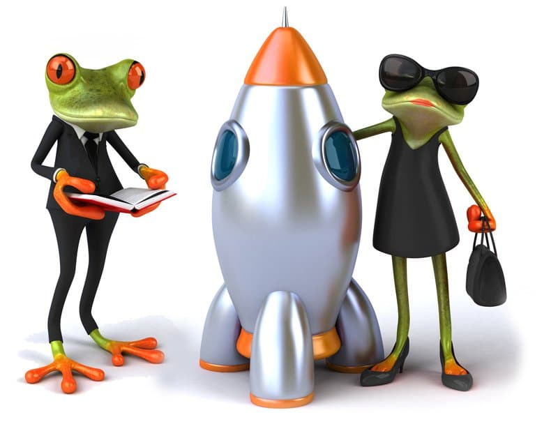 Conference call people Frog-lady-with-rocket