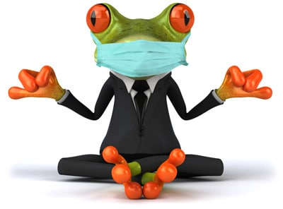 phone teleconference with relaxed yoga frog holding in Australia